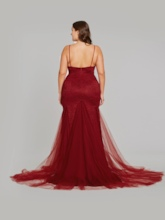 Mermaid Spaghetti Straps Backless Evening Dress