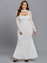 Plus Size White Lace Sleeve Plus Size Women's Maxi Dress