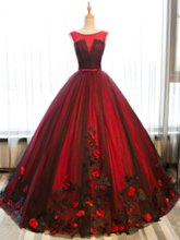 Scoop Appliques Sashes Floor-Length Quinceanera Dress