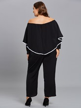 Plus Size Off Shoulder Falbala Women's Jumpsuits