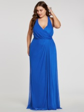 Halter Neck Pleats Sheath Long Plus Size Evening Dress