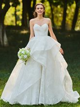 Ball Gown Sweetheart Tiered Lace Wedding Dress