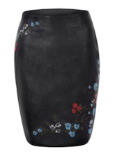 Floral Embroideried PU Women's Mini Skirt