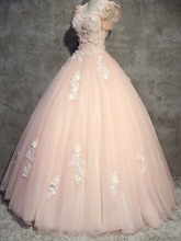 Appliques Beaded Flowers Lace Scoop Quinceanera Dress
