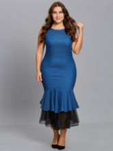 Plus Size Denim Sleeveless Tiered Women's Maxi Dress
