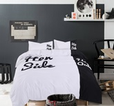 Unique Design His Side and Her Side Trim 4-Piece Cotton Duvet Cover Sets