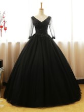 V-Neck Beading Long Sleeves Quinceanera Dress