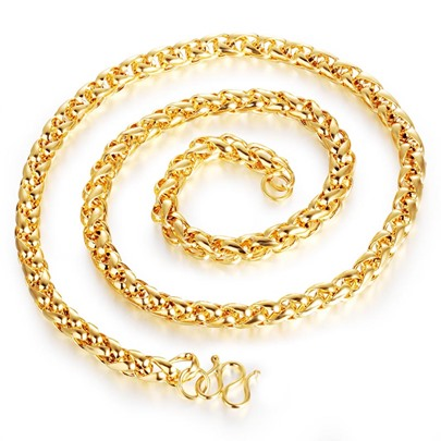 Long Chain 18K Gold Plated Alloy Hollow Out African Men's Necklace