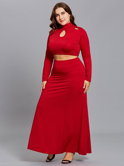 Plus Size Hollow High Collar Women's Two Piece Dress