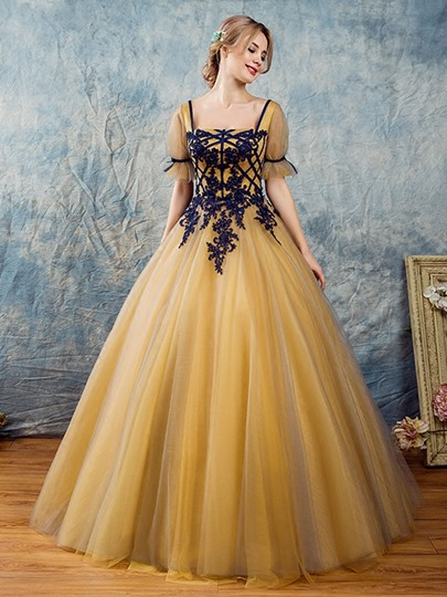 Appliques Beading Short Sleeves Square Quinceanera Dress