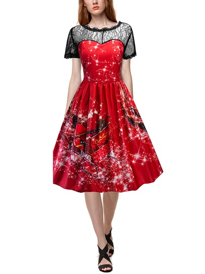 Lace Patchwork Red Women's Christmas Dress