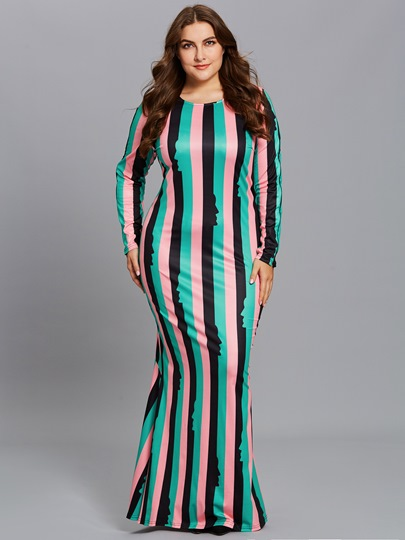 Plus Size Striped Long Sleeve Women's Maxi Dress