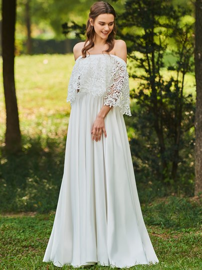 Off the Shoulder Lace Beach Wedding Dress Off the Shoulder Lace Beach Wedding Dress