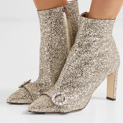 Sequin Pointed Toe High Heel Golden Boots Shoes