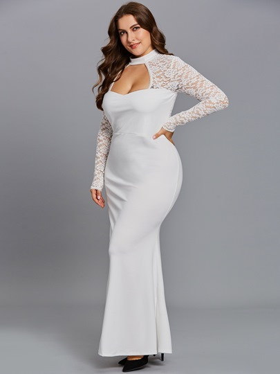 White Lace Sleeve Plus Size Women's Maxi Dress