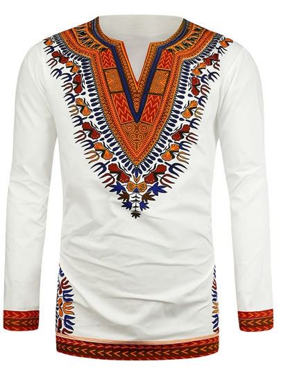 Dashiki Lapel African Print Plain Slim Men's Shirt