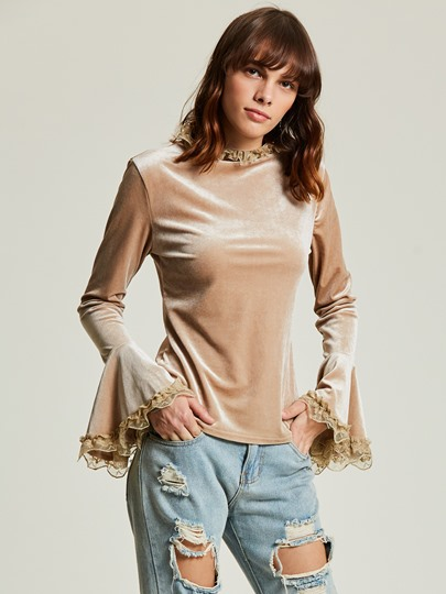 Flare Sleeve Lace Patchwork Women's T-shirt