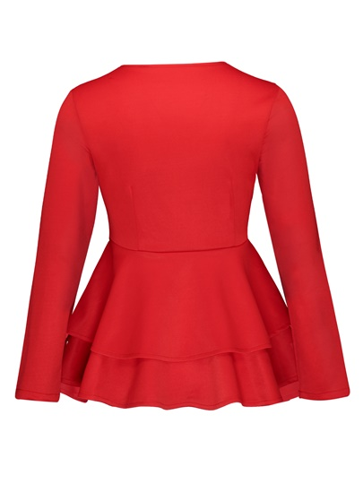 Plain Round Neck Hemline Falbala Slim Fit Women's Blouse
