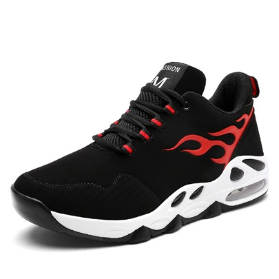Color Block Fire Pattern Athletic Shoes Men's