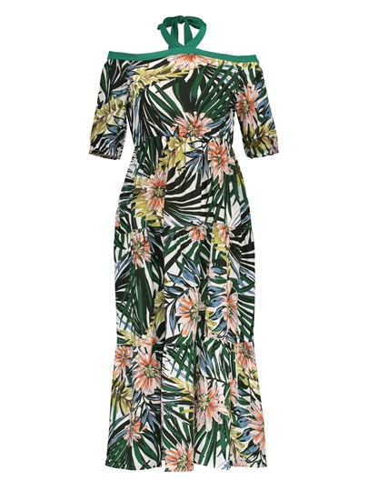 Halter Backless Flower Print Women's Maxi Dress