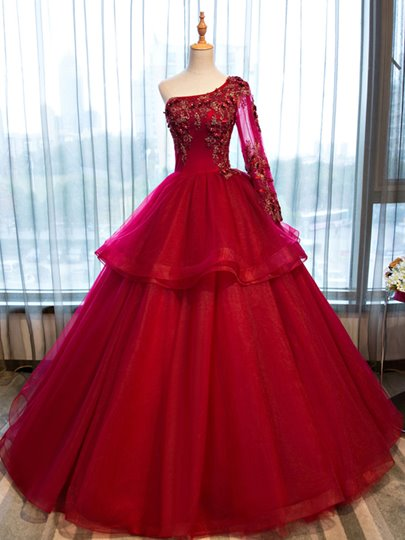 One-Shoulder Appliques Beading Flowers Quinceanera Dress