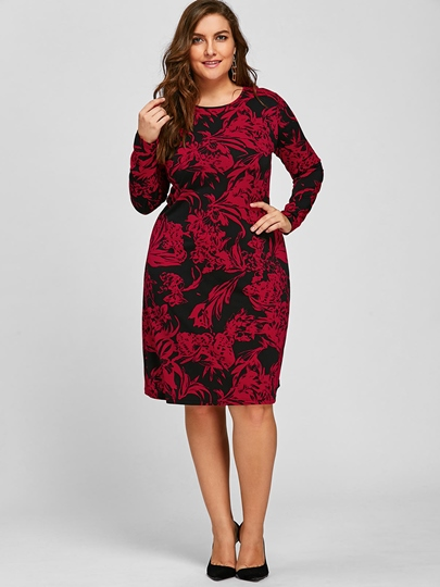 Back Zipper Long Sleeve Plus Size Women's Day Dress