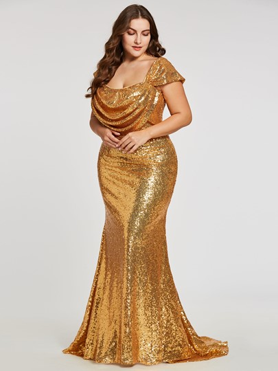 Square Sequins Pleats Mermaid Evening Dress Square Sequins Pleats Mermaid Evening Dress