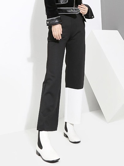 Color Block Straight Women's Casual Pants