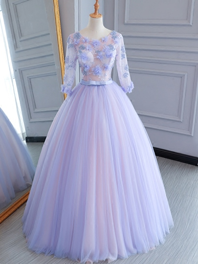 Appliques Bowknot Flowers Pearl Sashes Scoop Quinceanera Dress