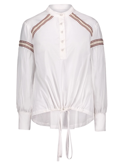 Embroidery Patchwork Single-Breasted Women's Blouse