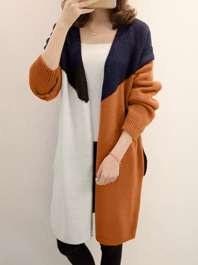Open Front Color Block Women's Knitwear
