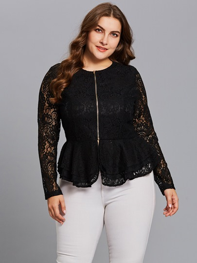 Slim Fit Plus Size Lace Patchwork Women's Jacket