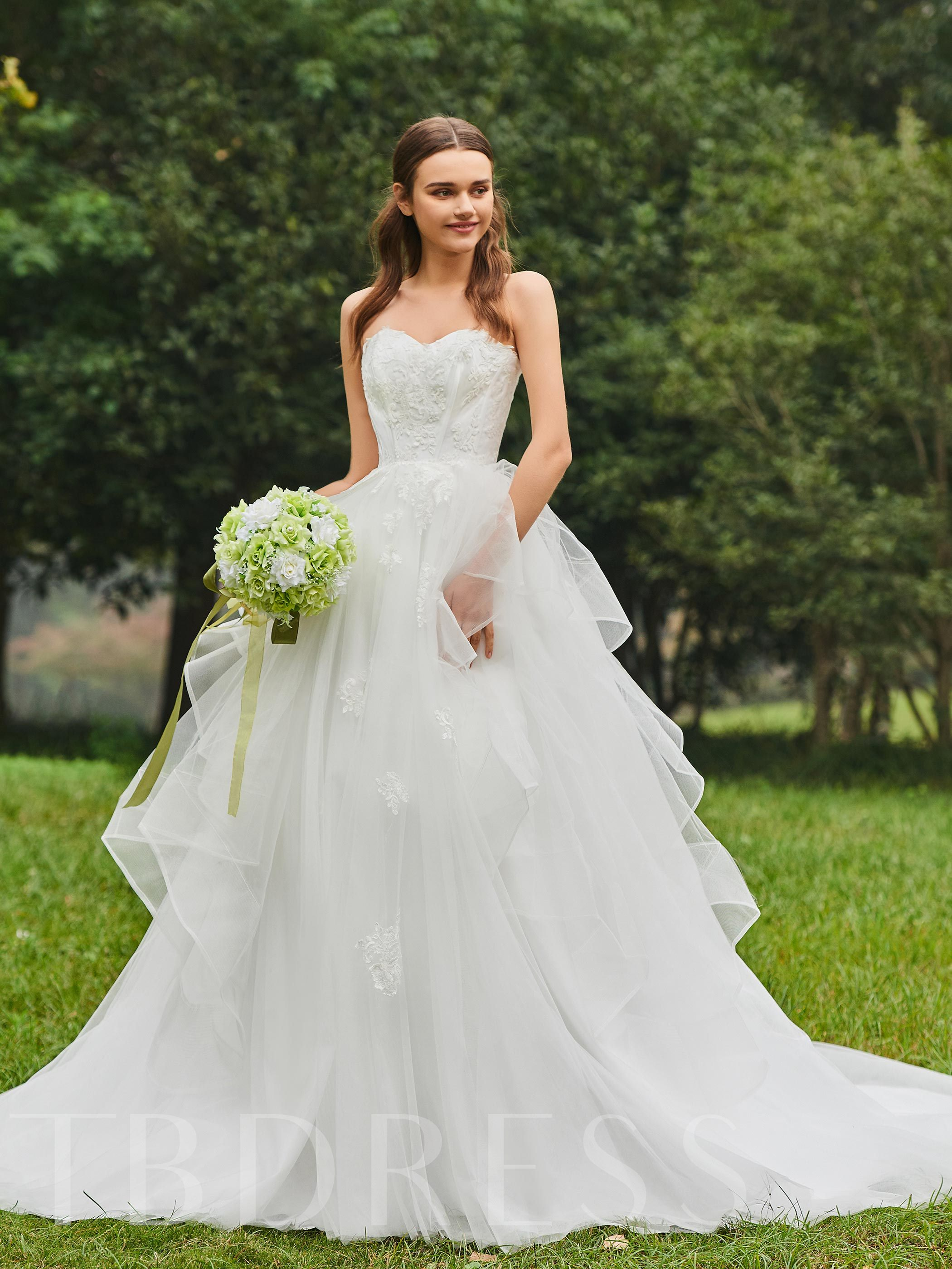 Image of Ball Gown Tiered Appliques Strapless Wedding Dress