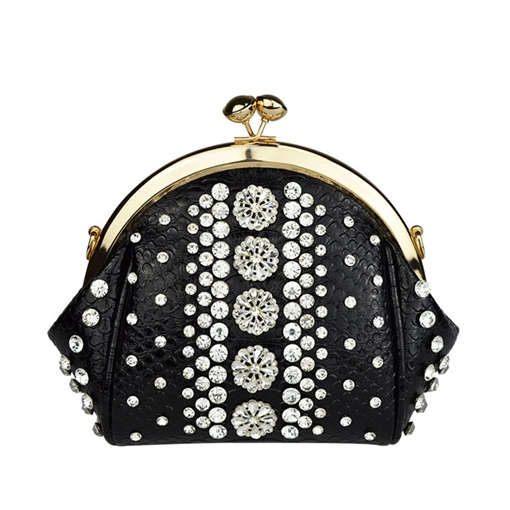 Vintage Serpentine Pattern Rhinestone Cross Body