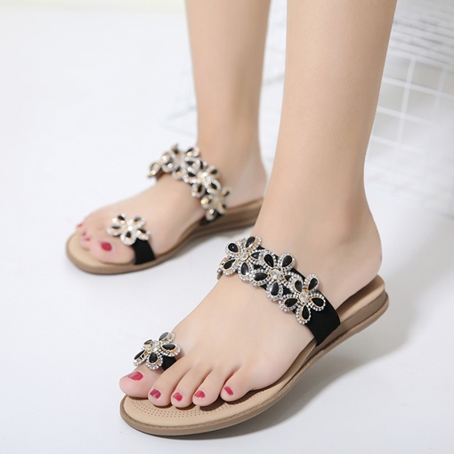 Toe Ring Floral Women's Sandal Slipper with Rhinestone