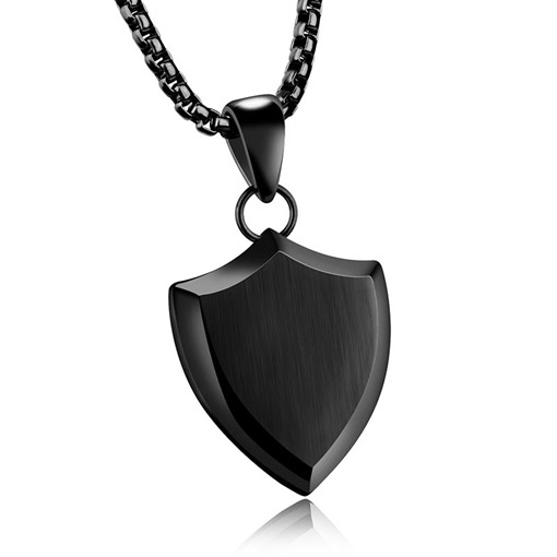 Black Coating Shield Titanium Steel African Men's Necklace