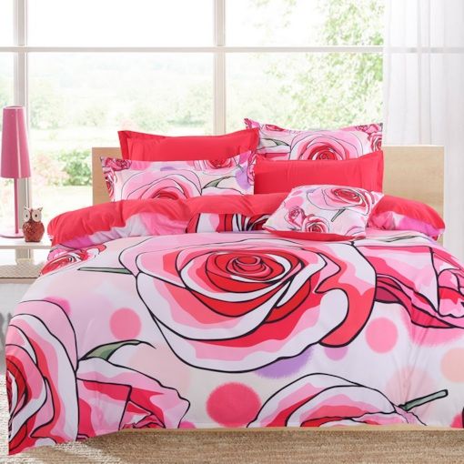 Pastoralism Watermelon Red Roses Blooming Pattern 4-Piece Cotton Bedding Sets/Duvet Cover