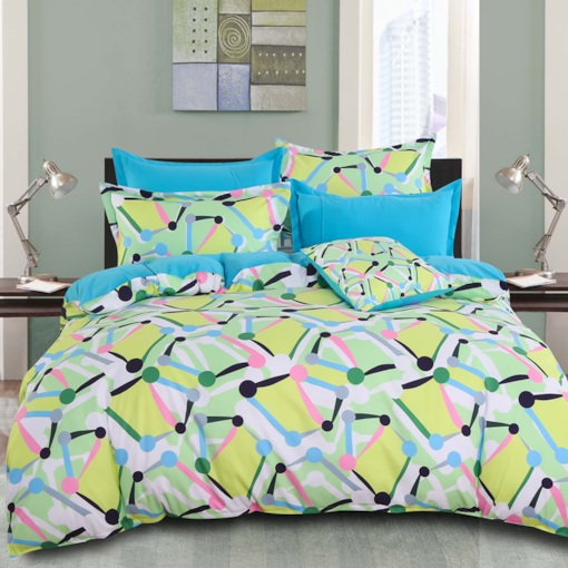 Yellow Spotted Flashbulb Printed Modern Style Cotton 4-Piece Bedding Sets