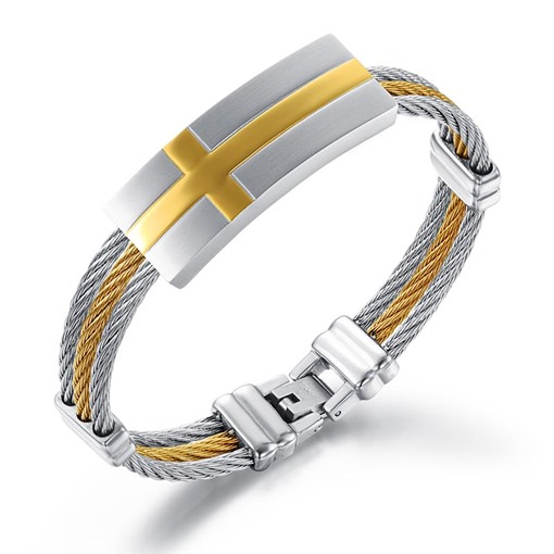 Cross Steel Wire Stainless Steel Men's Bracelet