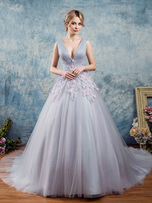 V-Neck Flowers Lace Pearls Floor-Length Quinceanera Dress