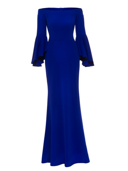 Royal Blue off Shoulder Bell Sleeve Women's Maxi Dress