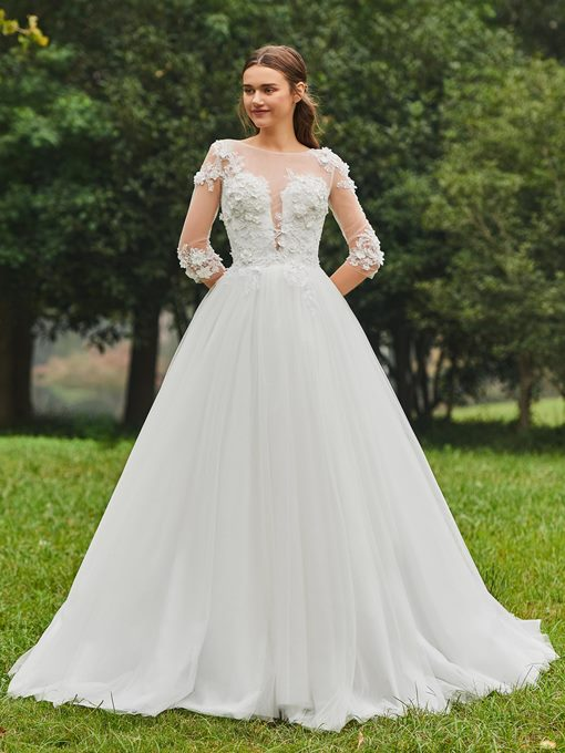 Half Sleeve Sheer Neck Appliques Wedding Dress