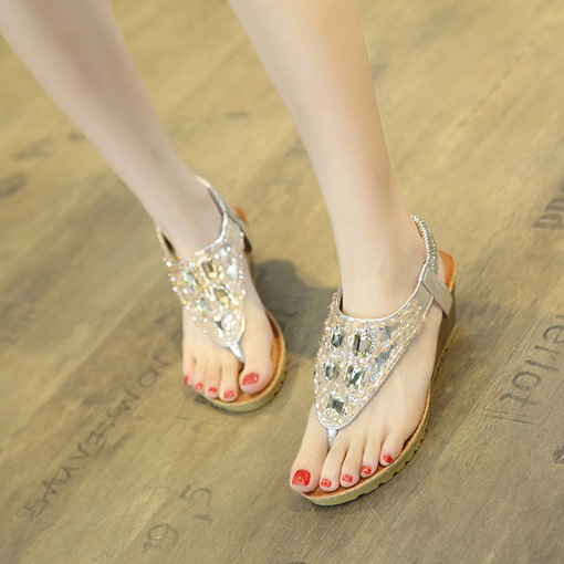 Wedge Heel Rhinestone Elastics Sandals