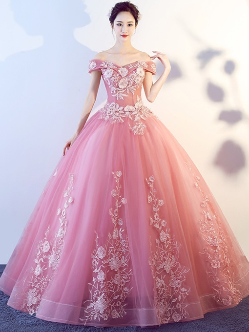 Off-the-Shoulder Short Sleeves Appliques Quinceanera Dress