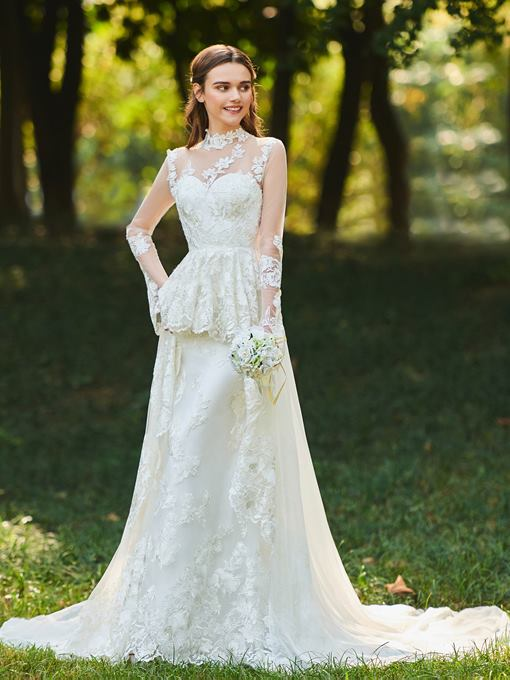 High Neck Long Sleeves Appliques Wedding Dress