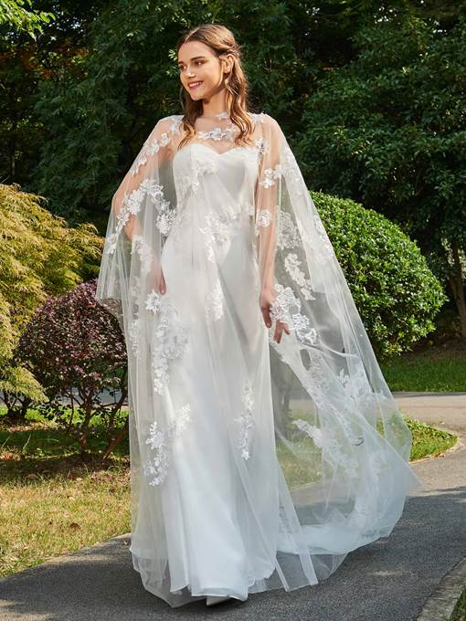 Strapless Appliques Column Wedding Dress with Shawl