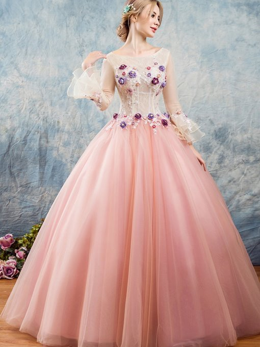 Flowers Lace Trumpet Sleeves Bateau Quinceanera Dress