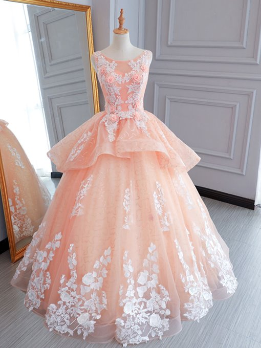 Appliques Flowers Scoop Floor-Length Quinceanera Dress