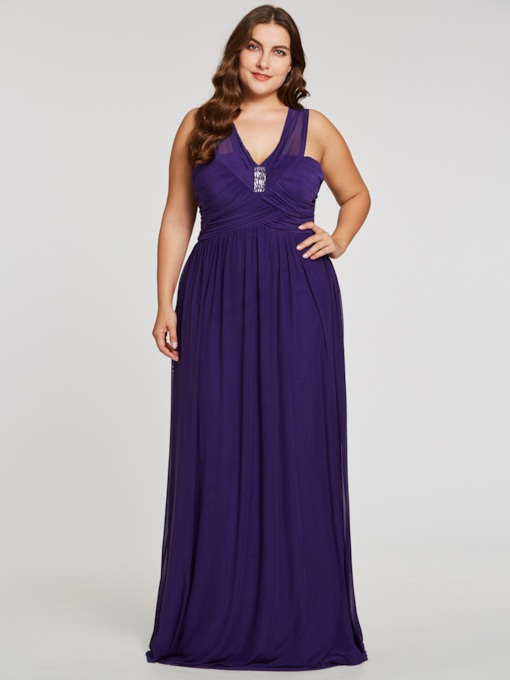 A-Line V-Neck Ruched Rhinestone Evening Dress