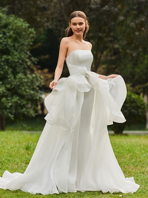 Strapless Bowknot Tiered Ruffles Wedding Dress